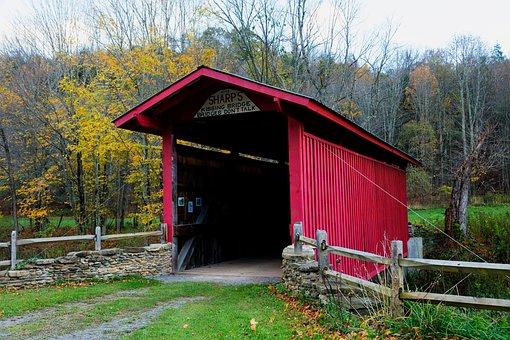 West Virginia, Covered Bridge, Fall, Autumn, Landmark