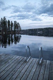 Dock, Ladders, Lake, Finland, Dark, Evening, Water