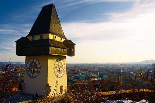 Graz, Austria, Styria, Clock Tower, Sun, Schlossberg
