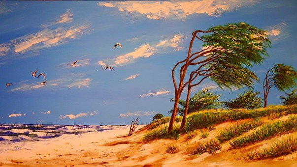 Painting, Acrylic, By The Sea, Beach, Water, Gulls