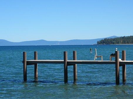 Pier, Lake, Water, Lake Tahoe, Summer, Wooden, Jetty