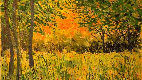 Painting, Landscape, Backlighting, Acrylic Paints