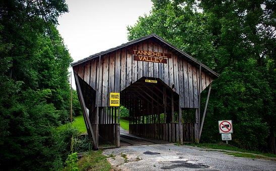 Covered Bridge, Alabama, Landscape, Road, Country