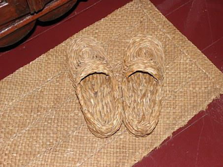 Straw, Slippers, Mat