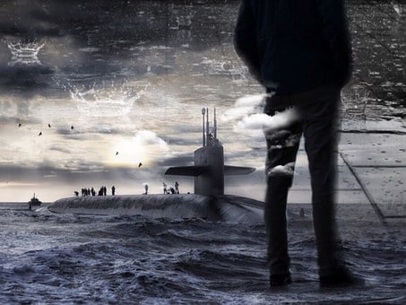 Submarine, Manschaft, Men, Sea, Water, Sky, Clouds