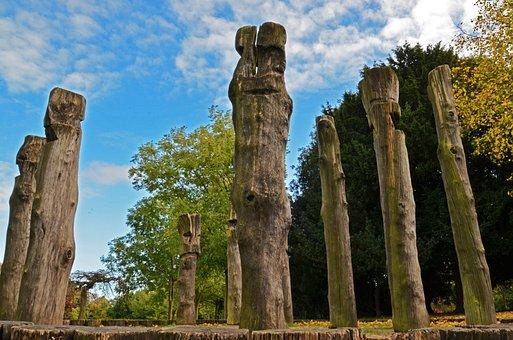Wood, Statue, Monument, Nature, Trees, Autumn