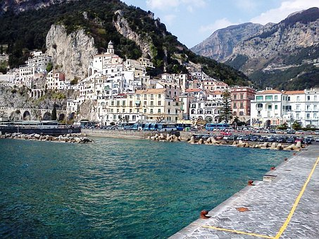 Harbour, Mountain, Amalfi Coast, Italy, Mediterranean