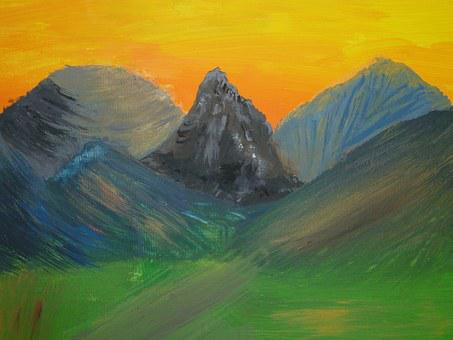Painting, Landscape, Mountains, Lighting