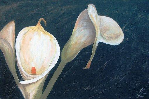 Painting, Acrylic, Art, Calla, White, Color, Decorative