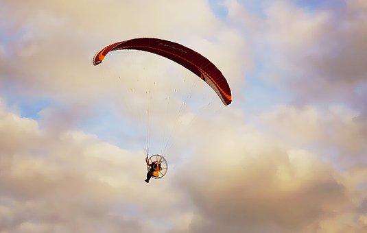 Sky, Cloud, Sunset, Paramotor, Wing, Flight, Person