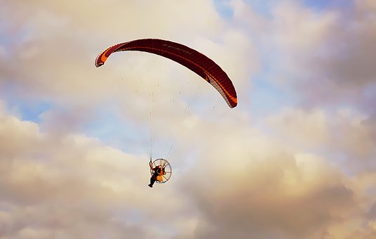 Sky, Cloud, Sunset, Paramotor, Wing, Flight, Person