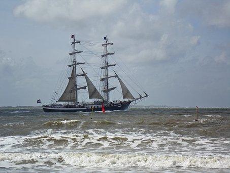 Sailing Vessel, Rough Seas, Windy, Stormy, Ship