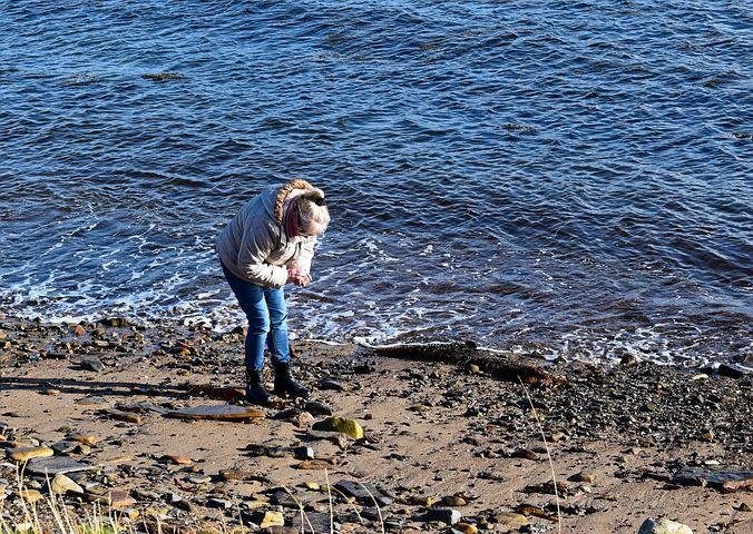 Beachcomber, Woman, Beach, Sand, Rocks, Shoreline