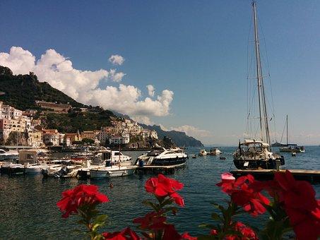 Amalfi, Boat, Mediterranean, Positano, Sea, Coast