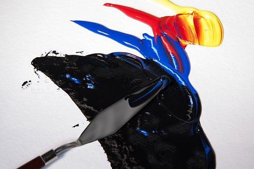 Acrylic Paints, Color, Spatula, Color Mixing, Split