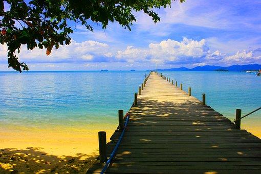 Pier, Sea, Tropical, Water, Summer, Ocean, Travel, Sky