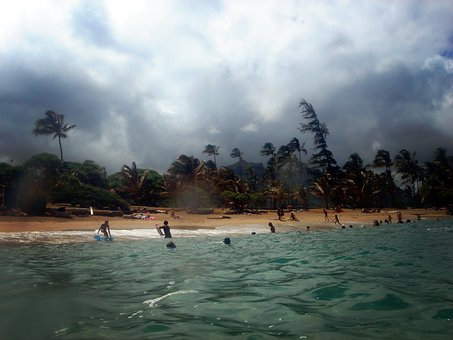 Stormy, Storm, Clouds, Beach, Surf, Sea, Wind, Tropical