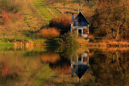 Cottage, Lake, Mirror, Tranquil, Vacation, Wooden