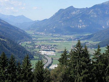Austria, Styria, Mountains, Valley, Ravine, Town