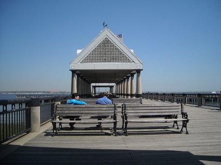 Charleston, Pier, Water, Ocean, Sea, Dock, South