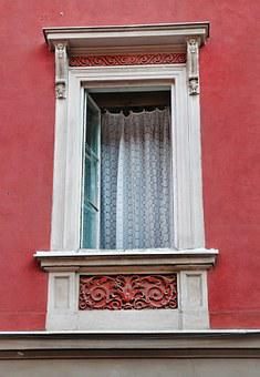 Window, Wall, Red, Opened, Open, Curtain, Building