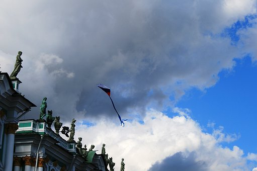 Winter Palace, Sky, Clouds, Kite, Flying