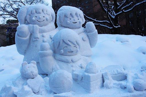 Snow Carving, Snow Art, Sculpture, Cartoon, Amazing