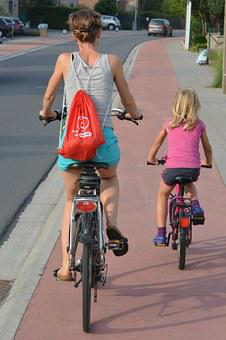 Cyclists, People, Backpack, Guidance, Mother And Child