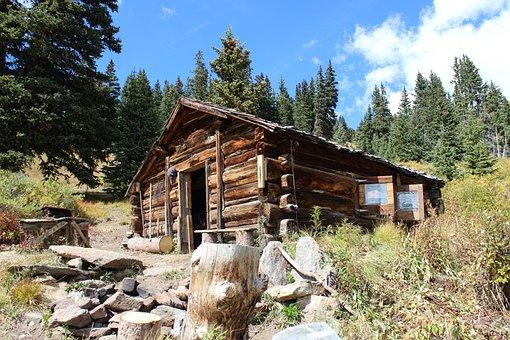 Cabin, Colorado, Rocky, Log, Mountains, Landscape