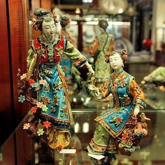 China, Guangdong, Statues, Crafts, Ceramic, Courtesans