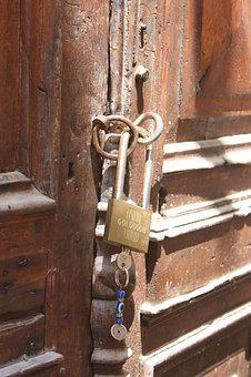 Lock, Greece, Chain, Door, Authentic