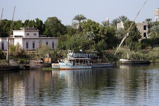 Nile, Egypt, Felucca, River, Disused Boats, Derelict