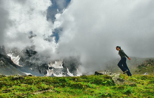 Girl, Woman, Mountain, Hiking, Trekking, Happy, Jumping