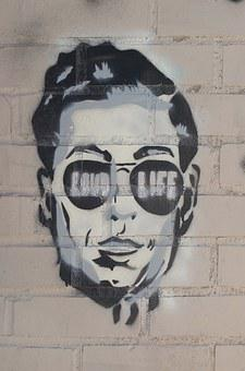 Stencil, New York, Face, Graffiti, Male, Propaganda