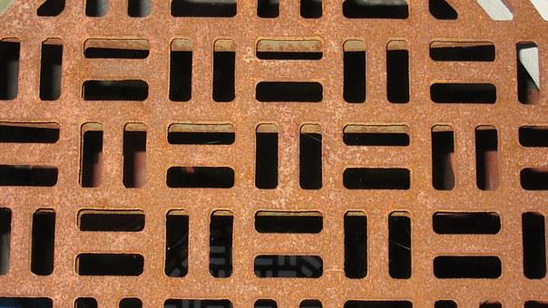 Rust, Manhole Cover, Squares, Rectangles, Rusty Red