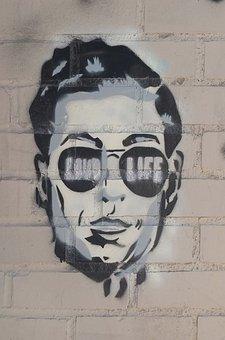 Stencil, New York, Face, Graffiti, Male, Propaganda