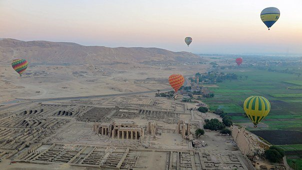 Luxor, Hot Air Balloons, Nile, Egypt, Temple