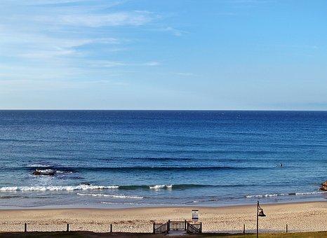 Beach, Ocean, Blue, Sky, Sand, Waves, Swell, Beachfront