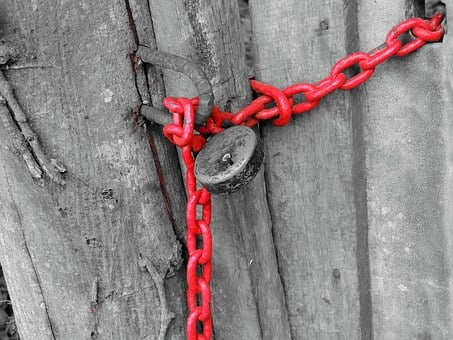 Lock, Red, Chain, Safety, Security, Safe, Key, Metal