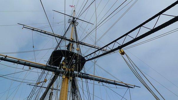 Rigging, Sailing Ship, Rope, Mast, Sail, Spars, Warship