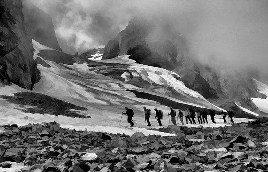 Mountain, Hiking, Girl, Woman, Trekking, Happy, Jumping