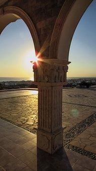 Pillar, Church, Sun, Sunlight, Light, Afternoon, Sunset