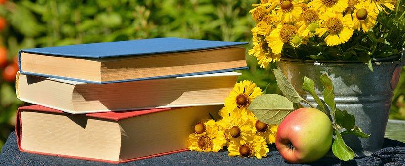 Books, Read, Garden, Sun Brews, Apple, Literature