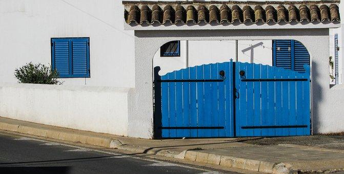 Yard Door, Blue, Door, House, Exterior, Architecture