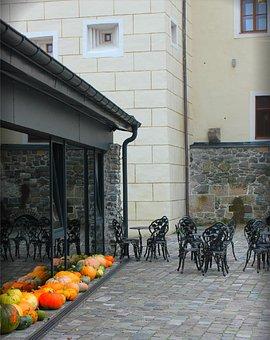 Castle, Courtyard, Old Town, Autumn, Pumpkin, Hokkaido
