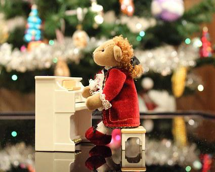 Bear, Piano, Music, Camisole, Christmas Tree, Mozart