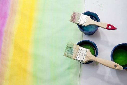 Paint, Course, Pink, Yellow, Green, Watercolor, Brush