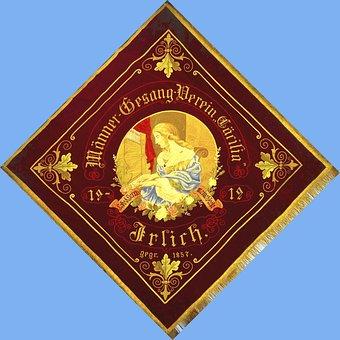 Banner, Flag, Old, 1912, Fund, Blue, Choir, Caecilia