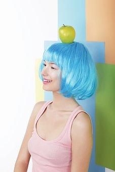 Wig, Blue, Modern, Apple, Fresh, Happy, Cheer, Smile