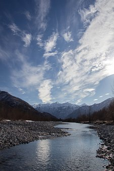 River, Sky, Clouds, Water, Italy, Landscape, Riva